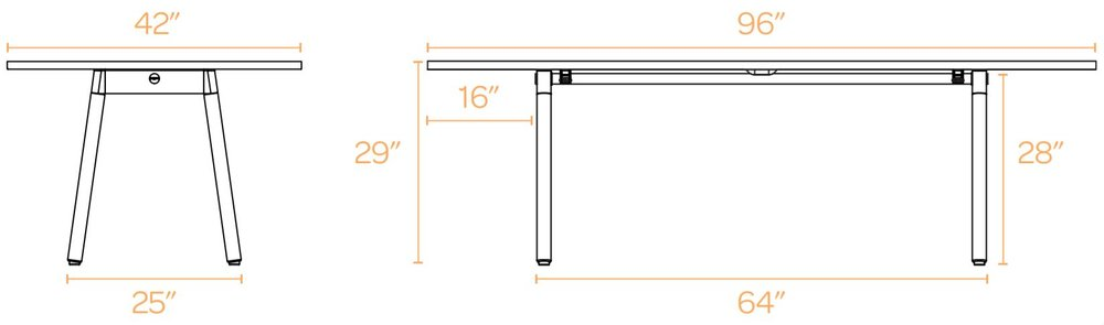 """Series A Conference Table, White, 96x42"""", White Legs"""