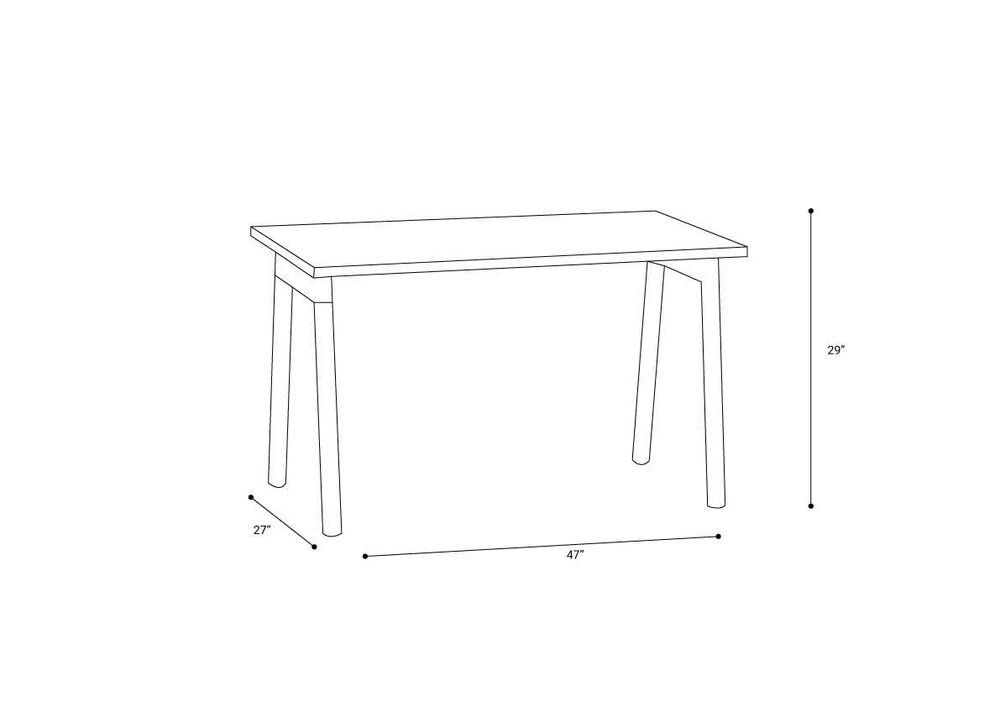 "Series A Single Desk for 1, White, 47"", Charcoal Legs"