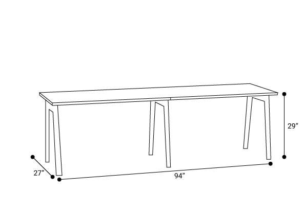 """Series A Single Desk for 2, White, 47"""", Charcoal Legs"""