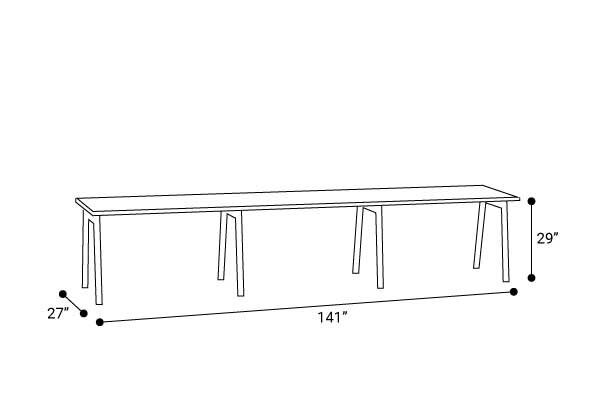"Series A Single Desk for 3, White, 47"", Charcoal Legs"