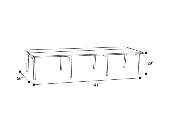 """Series A Double Desk for 6, Walnut, 47"""", Charcoal Legs"""