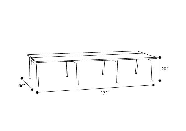 """Series A Double Desk for 6, Natural Oak, 57"""", Charcoal Legs"""