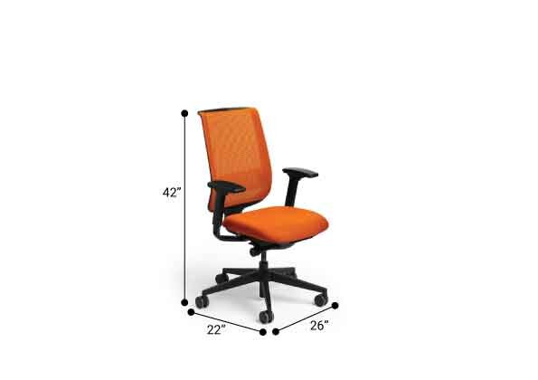 Reply Task Chair, Adjustable Arms, Adjustable Lumbar Orange