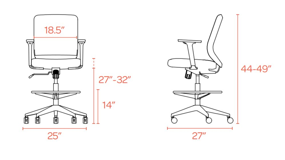 Dark Gray Max Drafting Chair, Mid Back, White Frame