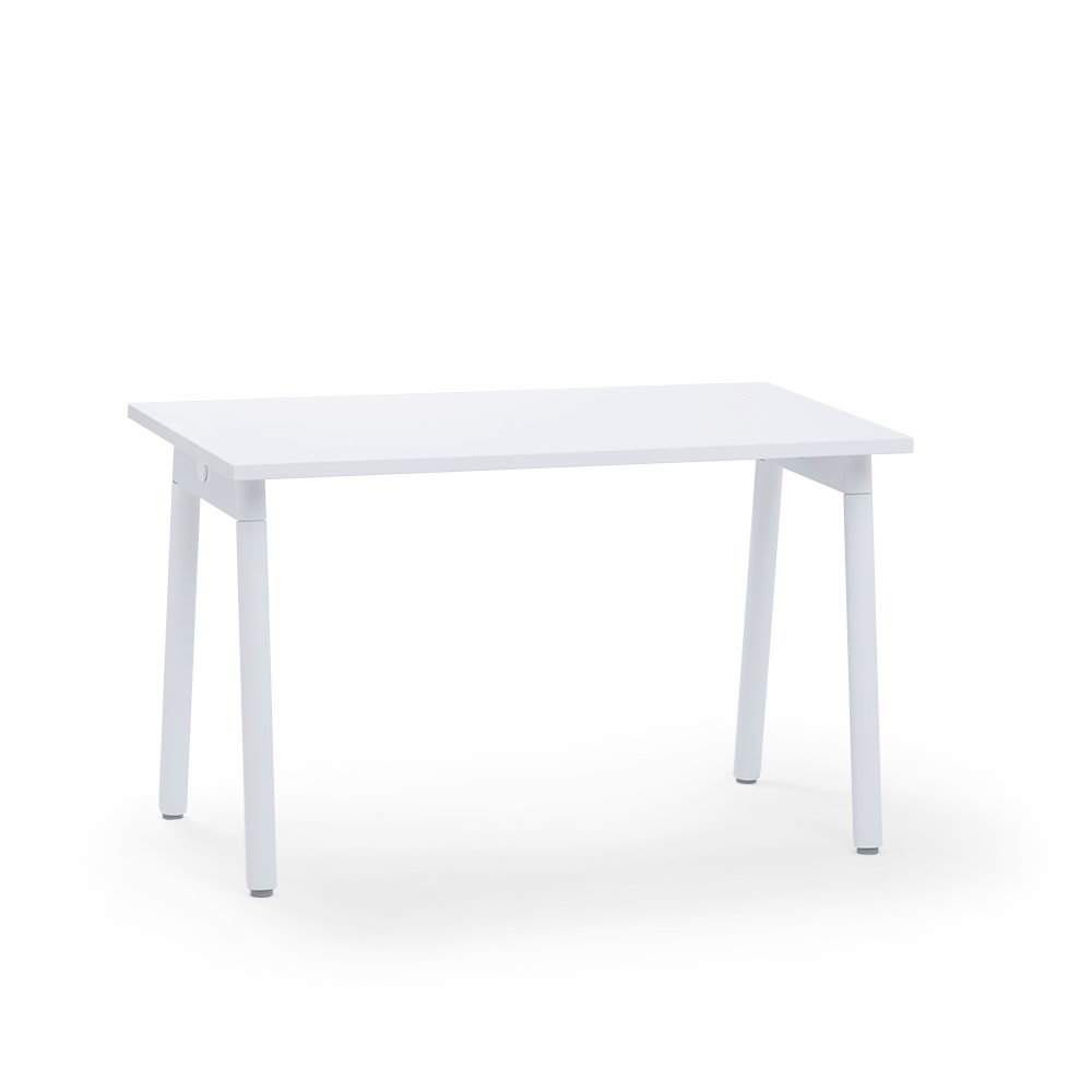 "Series A Single Desk for 1, White, 47"", White Legs"