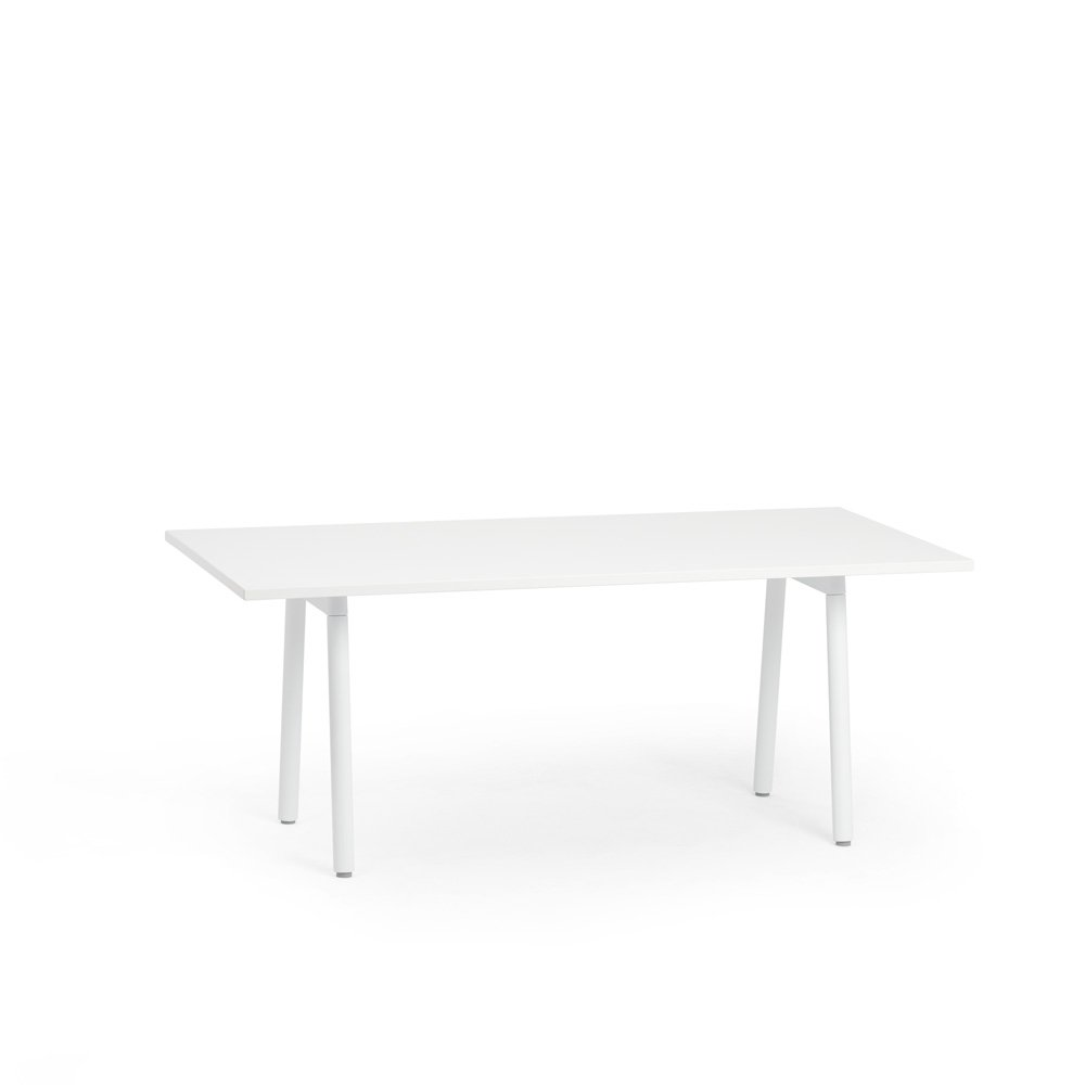 """Series A Conference Table, White, 72x36"""", White Legs"""