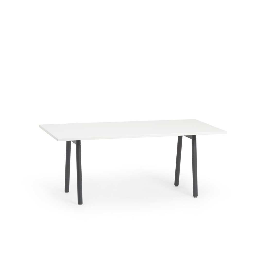 """Series A Conference Table, White, 72x36"""", Charcoal Legs"""