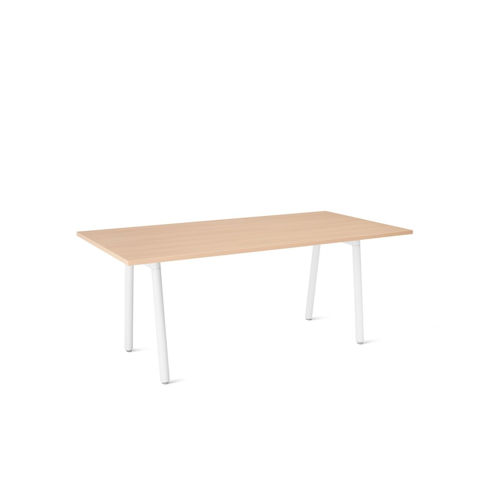 "Series A Executive Desk, Natural Oak, 72"", White Legs"