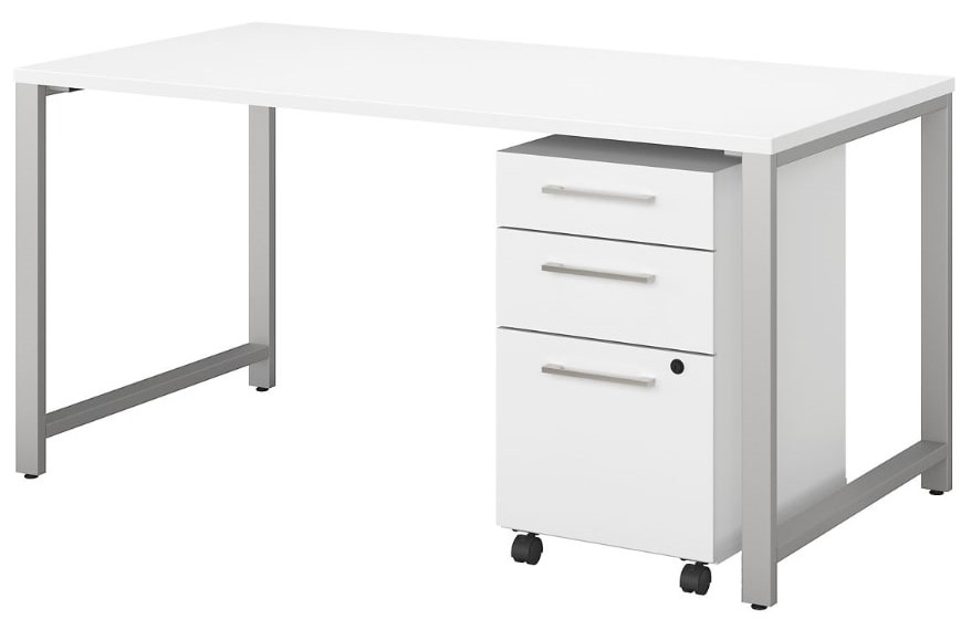 """Series 60"""" Table Desk With Mobile File Cabinet White"""