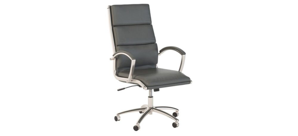 Executive Office Chair High Back Dark Gray Leather