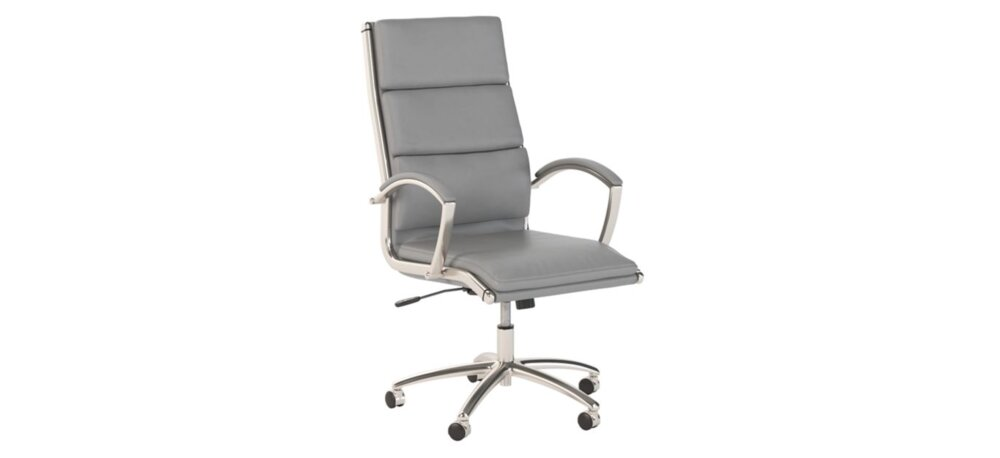 Executive Office Chair High Back Light Gray Leather