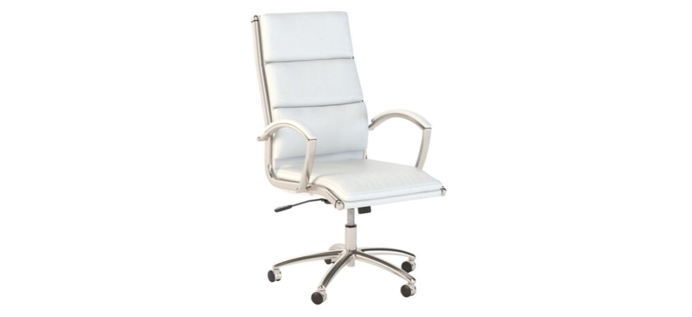 Executive Office Chair High Back White Leather
