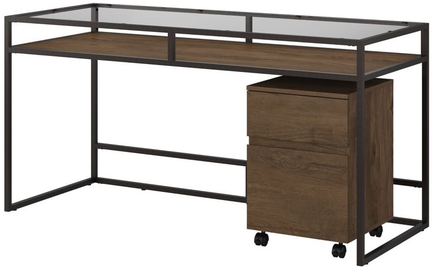 """Anthropology 60"""" Writing Desk With Mobile File Cabinet Rustic Brown"""