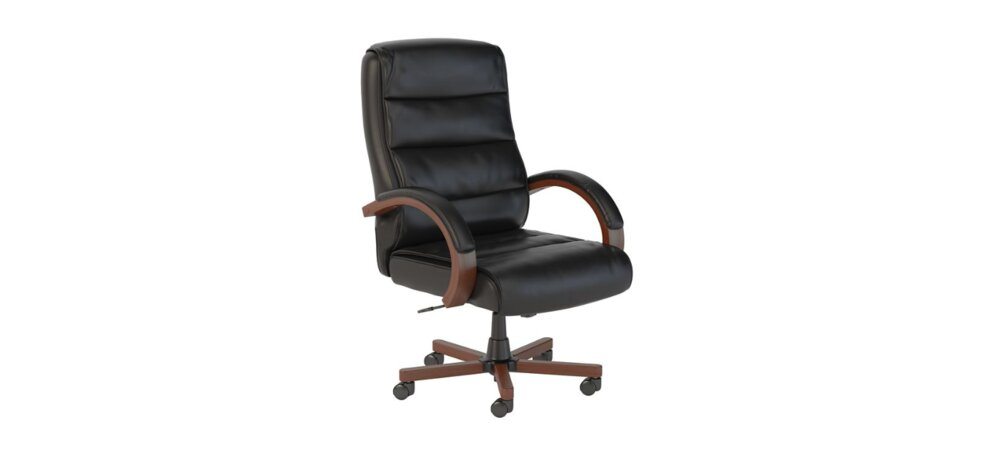 Executive Office Chair High Back Black Leather