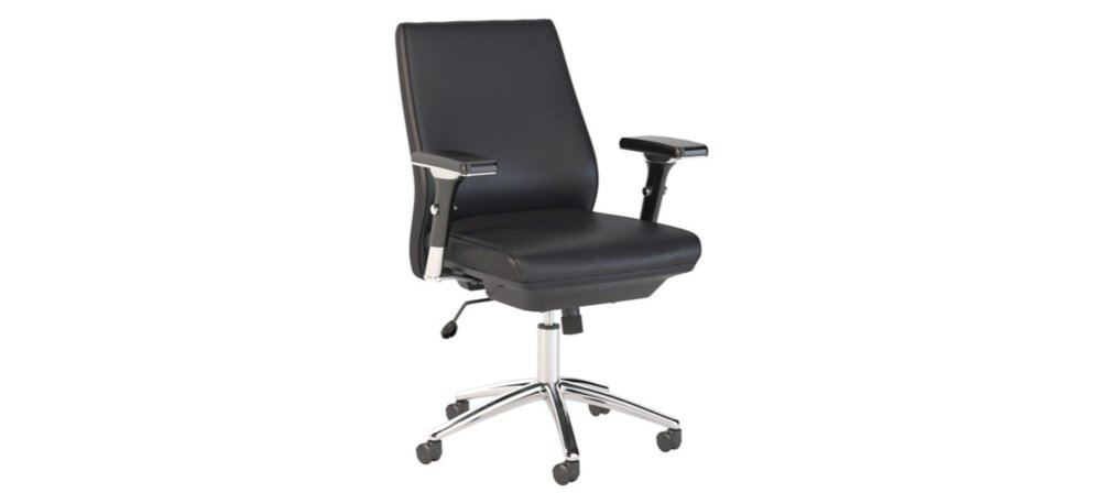Executive Office Chair Mid Back Leather  Black