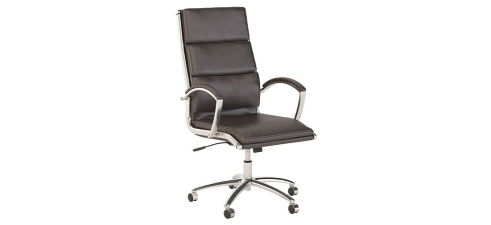 Executive Office Chair High Back Leather Dark Brown