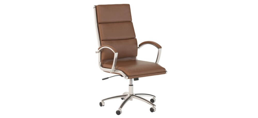 High Back Leather Executive Office Chair Saddle