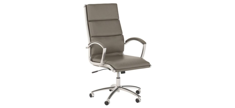 Executive Office Chair High Back Leather Washed Gray