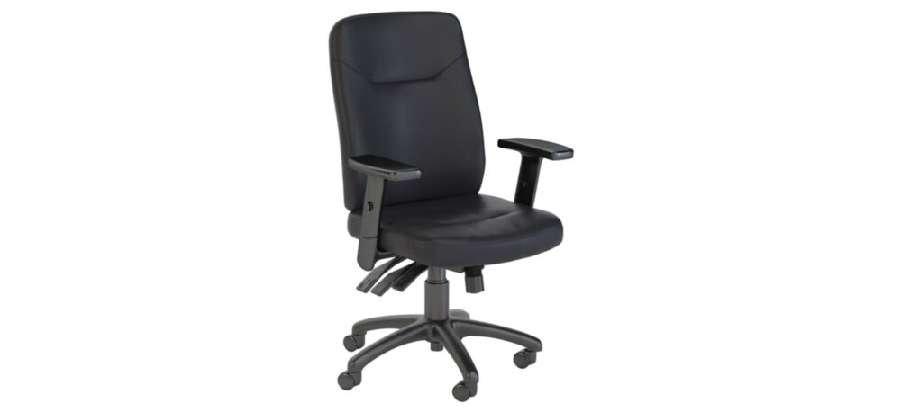 Executive Office Chair High Back Multifunction Leather Black