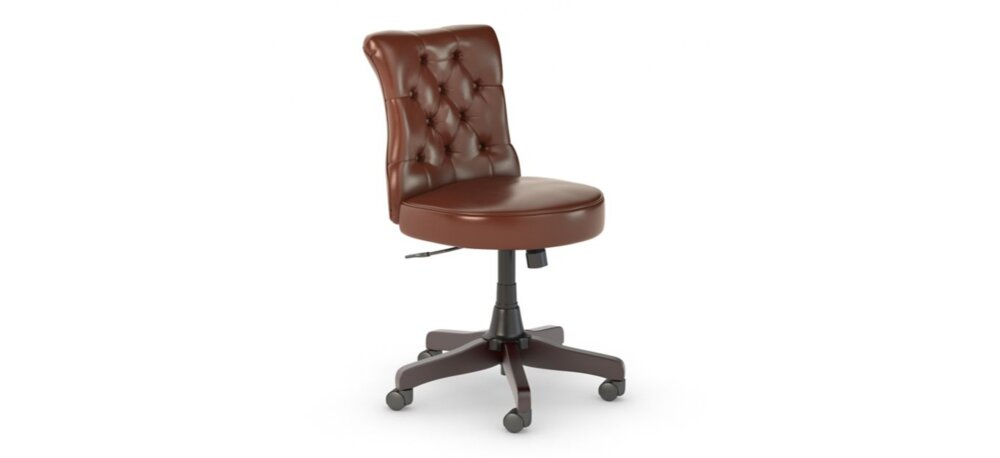 Tufted Office Chair Mid Back Harvest Cherry Leather