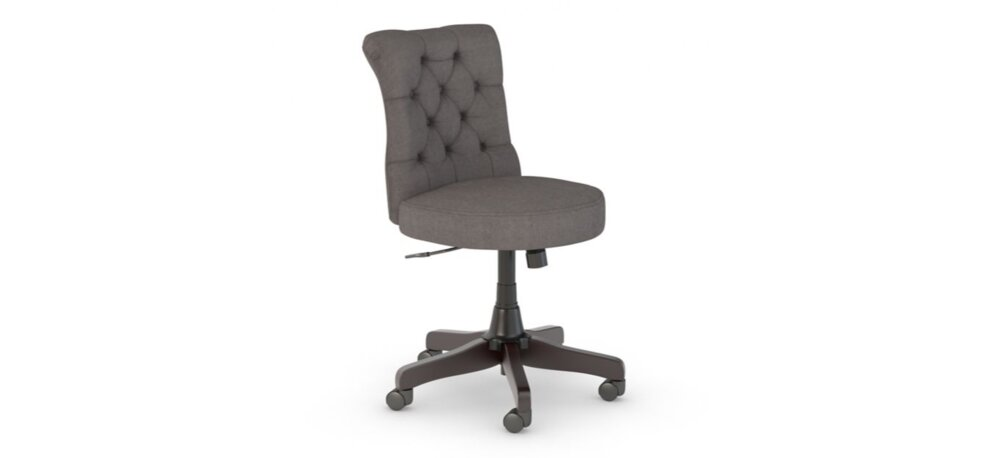 Tufted Office Chair Mid Back Fabric Berwick Dark Gray