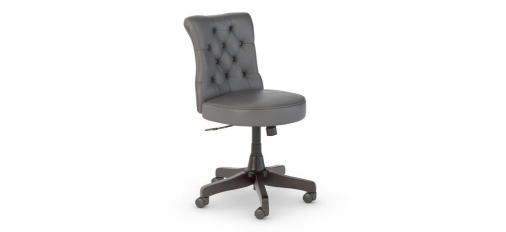 Tufted Office Chair Mid Back Dark Gray Leather