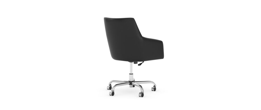 Box Chair Mid Back Leather Black