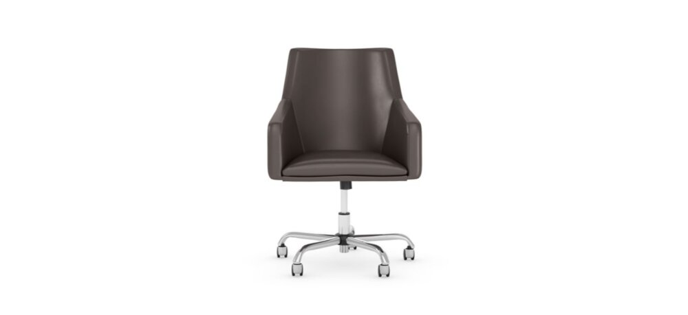 Box Chair Mid Back Leather Brown