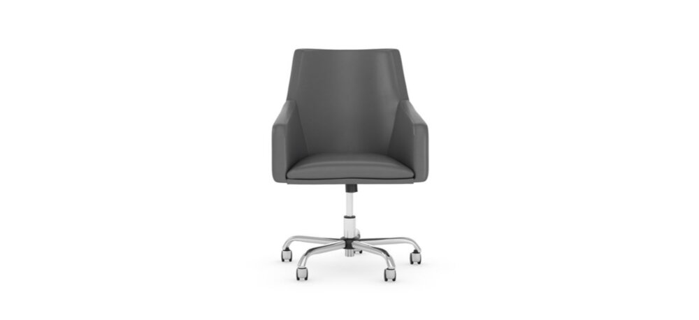 Box Chair Mid Back Leather Dark Gray