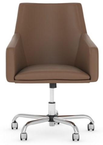 Mid Back Leather Box Chair Saddle