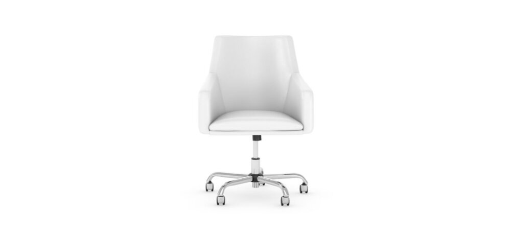 Box Chair Mid Back Leather White