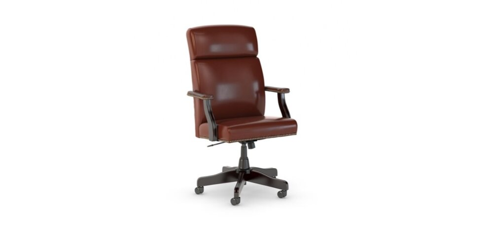 Executive Office Chair High Back Leather Harvest Cherry