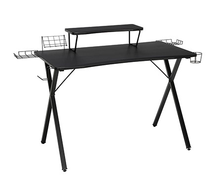 """Essential 55"""" Gaming Computer Desk With 35"""" Monitor Shelf Black"""