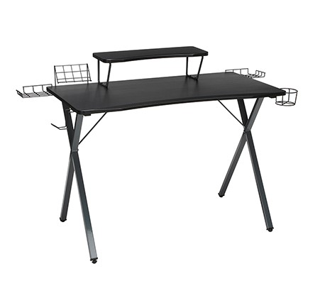"""Essential 55"""" Gaming Computer Desk With 35"""" Monitor Shelf Gray"""