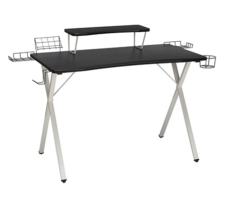 """Essential 55"""" Gaming Computer Desk With 35"""" Monitor Shelf White"""
