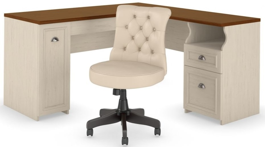 """Fairview 60"""" L Shaped Desk With Tufted Office Chair Antique White"""