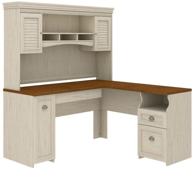 Fairview L Shaped Desk With Hutch Antique White