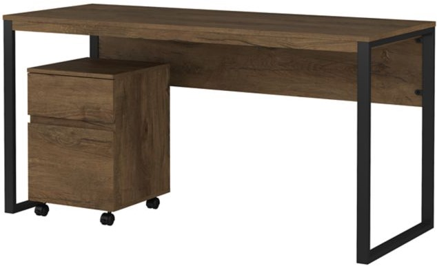 """Latitude 60"""" Writing Desk With Mobile File Cabinet Rustic Brown"""