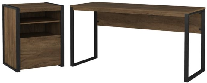 """Latitude 60"""" Writing Desk With Printer Stand File Cabinet Rustic Brown"""