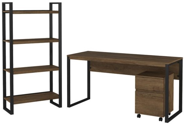 """Latitude 60"""" Writing Desk With File Cabinet And Bookcase Rustic Brown"""
