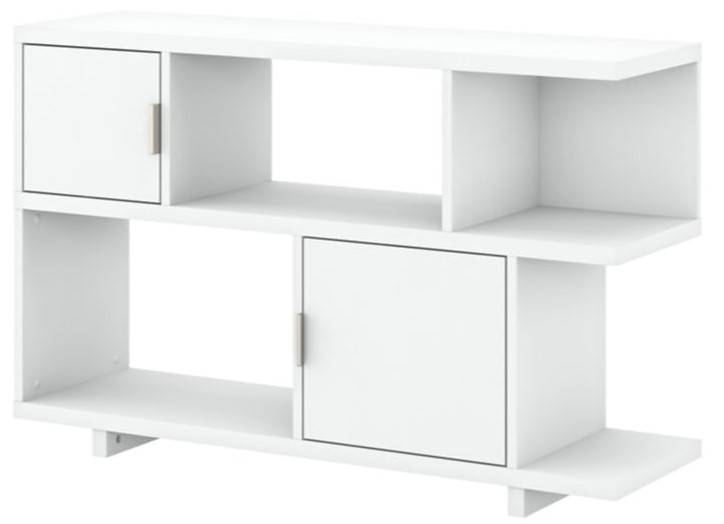 Madison Avenue Low Geometric Bookcase With Doors Pure White