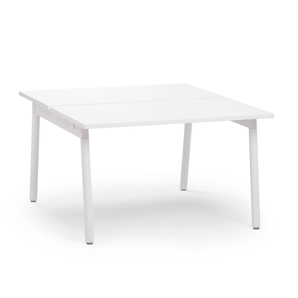 "Series A Double Desk for 2, White, 57"", White Legs"
