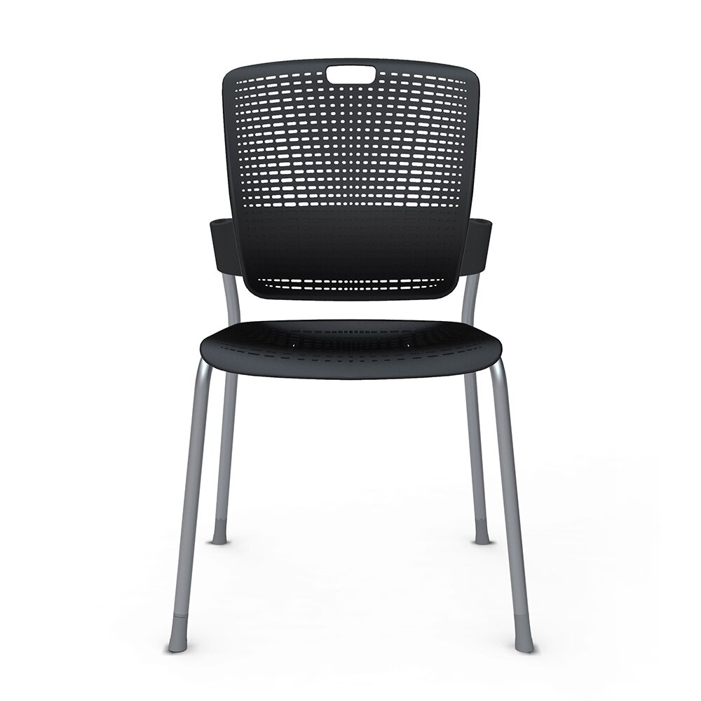 Shell Black Cinto Chair, Silver Frame