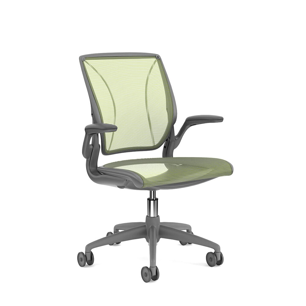 Pinstripe Mesh World Task Chair, Fixed Arms, Gray Frame Green