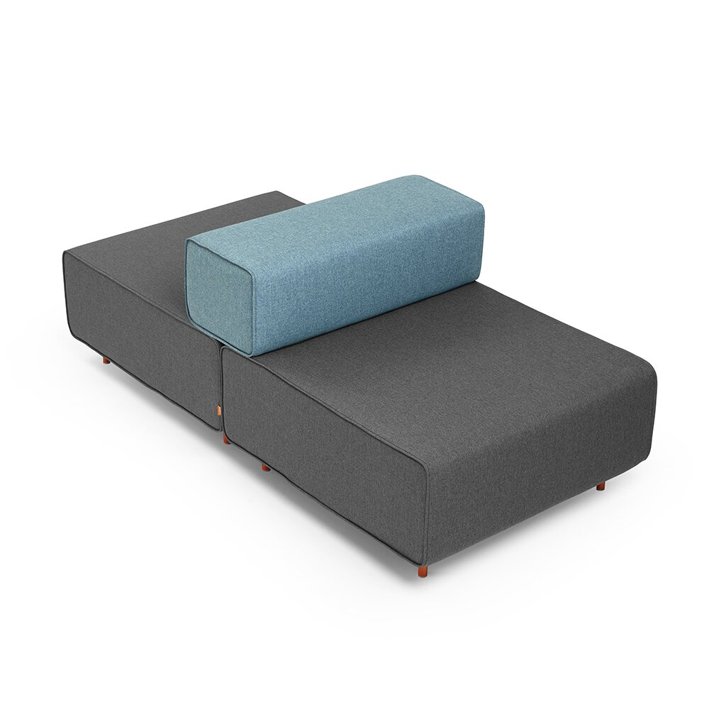 Block Party Lounge Back It Up Chair Dark Gray & Blue