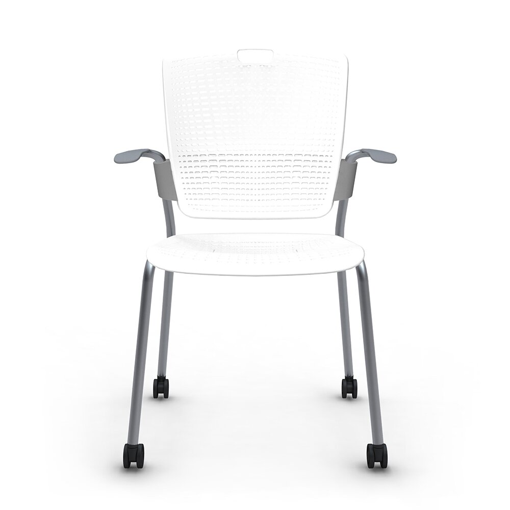 Shell White Cinto Chair with Arms, Rolling, Silver Frame