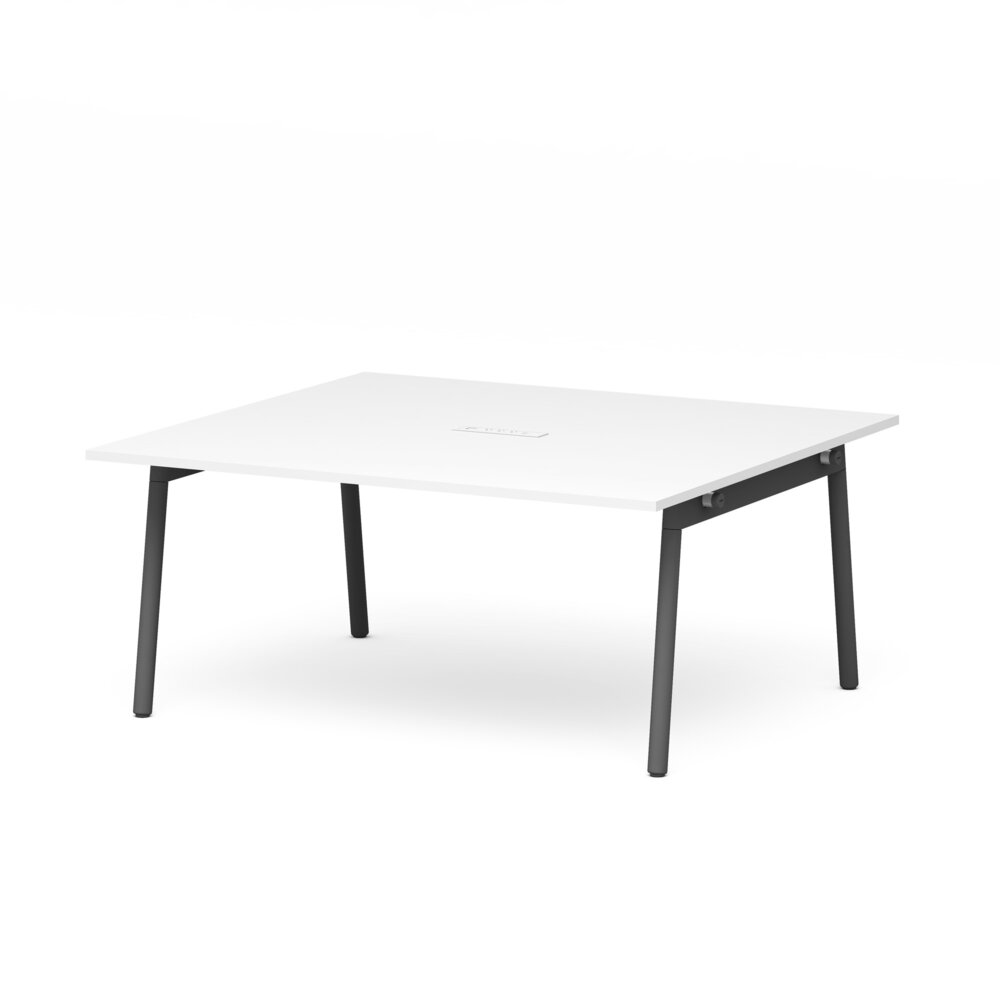 """Series A Scale Rectangular Conference Table, White, 66x60"""", Charcoal Legs"""