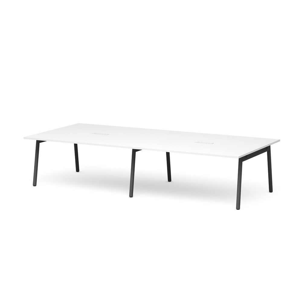 """Series A Scale Rectangular Conference Table, White, 132x60"""", Charcoal Legs"""