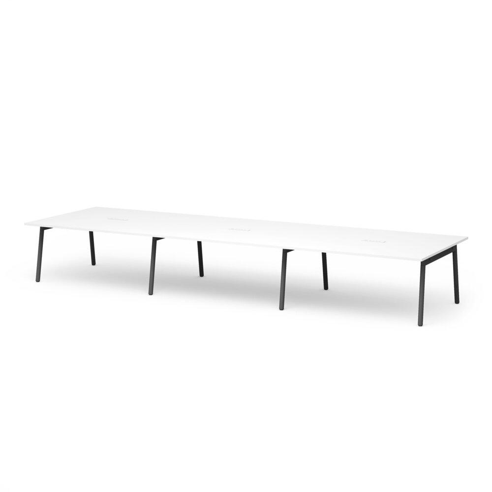 """Series A Scale Rectangular Conference Table, White, 198x60"""", Charcoal Legs"""