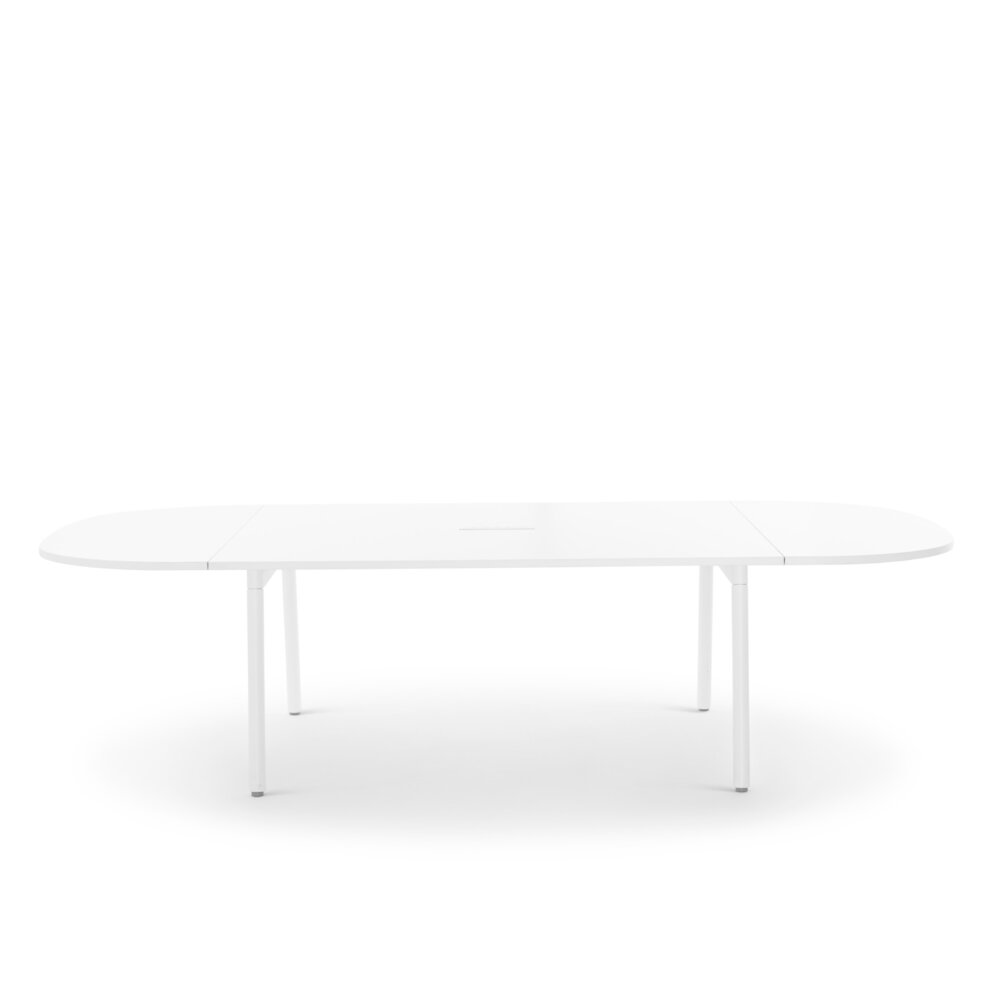 """Series A Scale Racetrack Conference Table, White, 114x60"""", White Legs"""